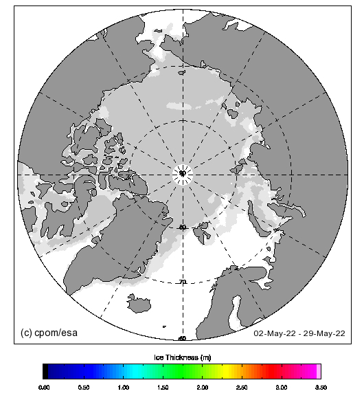 CryoSat-2 near real time Arctic sea ice thickness